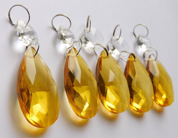 "1 Orange Cut Glass Oval 37 mm 1.5"" Chandelier Crystals Drops Beads Droplets Light Parts 2"