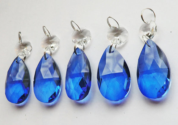 "Blue Cut Glass Oval 37 mm 1.5"" Chandelier Crystals Drops Beads Droplets Light Lamp Parts 14"
