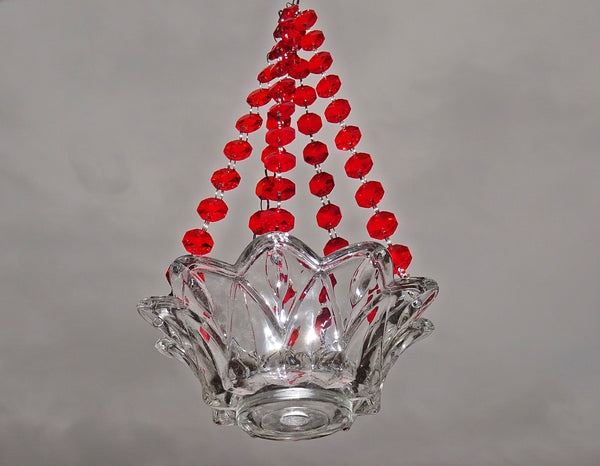 Red Glass Chandelier Tea Light Candle Holder Wedding Event or Garden Feature 1