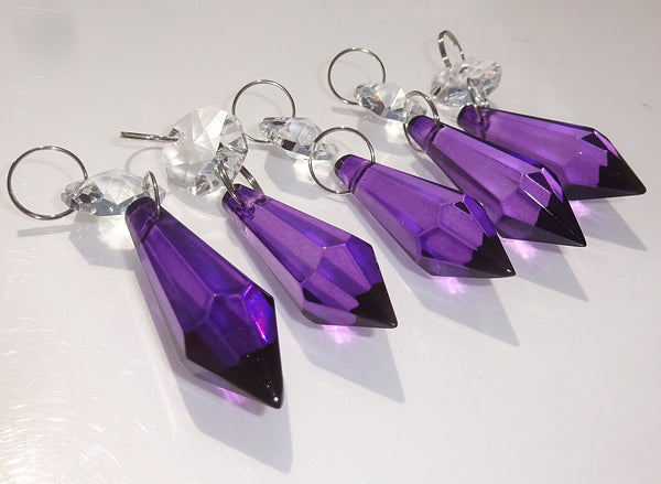 "Purple Cut Glass Torpedo 37 mm 1.5"" Chandelier Crystals Drops Beads Droplets Light Parts 2"