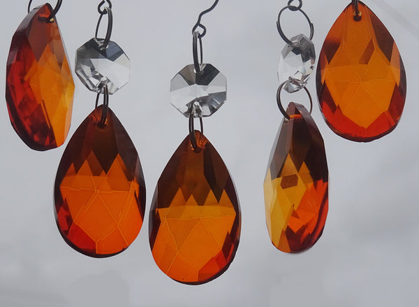24 Chandelier Drops Mix 6 Designs Colours Cut Glass Crystals Beads Prisms Droplets Lamp Light Parts 10