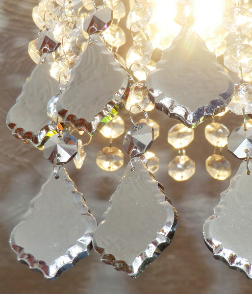 Vitrail AB Iridescent Silver Back Cut Glass Leaf 50 mm / 2 inch Chandelier Crystals Drops Pendalogue Beads Droplets Prisms 7