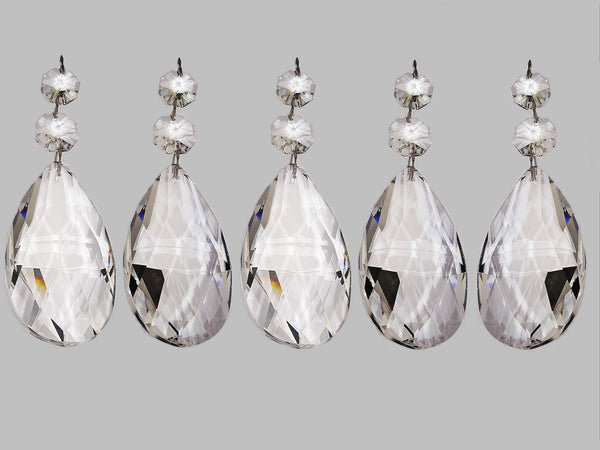 Clear XL 75 mm / 3 Inch Oval Almond Chandelier Crystals Cut Glass Facet Prisms 3