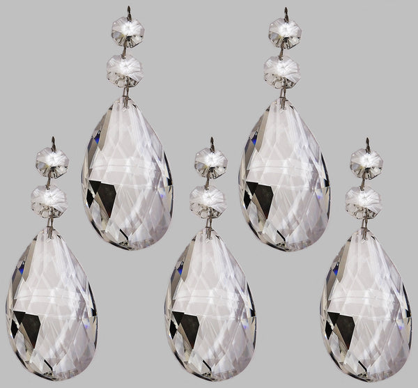 Clear XL 75 mm / 3 Inch Oval Almond Chandelier Crystals Cut Glass Facet Prisms 4