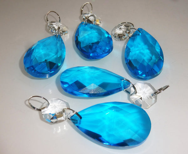 "Teal Blue Cut Glass Oval 37 mm 1.5"" Chandelier Crystals Drops Beads Droplets Light Parts 6"