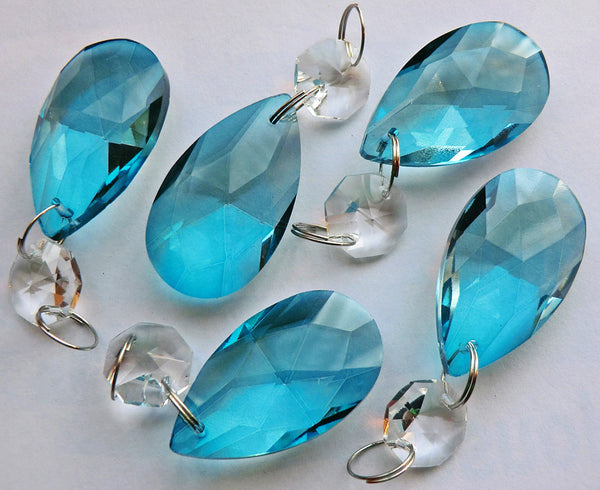 "Teal Blue Cut Glass Oval 37 mm 1.5"" Chandelier Crystals Drops Beads Droplets Light Parts 2"