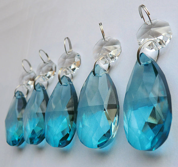 "Teal Blue Cut Glass Oval 37 mm 1.5"" Chandelier Crystals Drops Beads Droplets Light Parts 4"