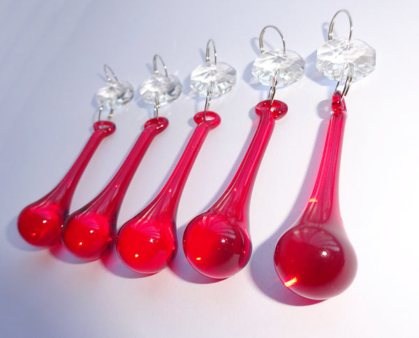 "Red Glass Orbs 53 mm 2"" Chandelier Crystals Droplets Beads Drops Lamp Light Parts 2"