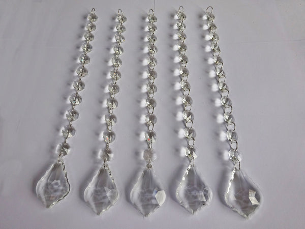 Clear Glass Leaf 270 mm / 10.8 inch Chandelier Chain of Drops Crystals Beads Garland Pendant Decoration 2