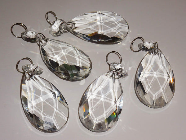 Clear Cut Glass Oval 2 inch Chandelier Crystals Drops Almond Droplets Prisms Transparent 3