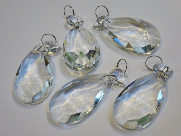 Clear Cut Glass Oval 2 inch Chandelier Crystals Drops Almond Droplets Prisms Transparent 4