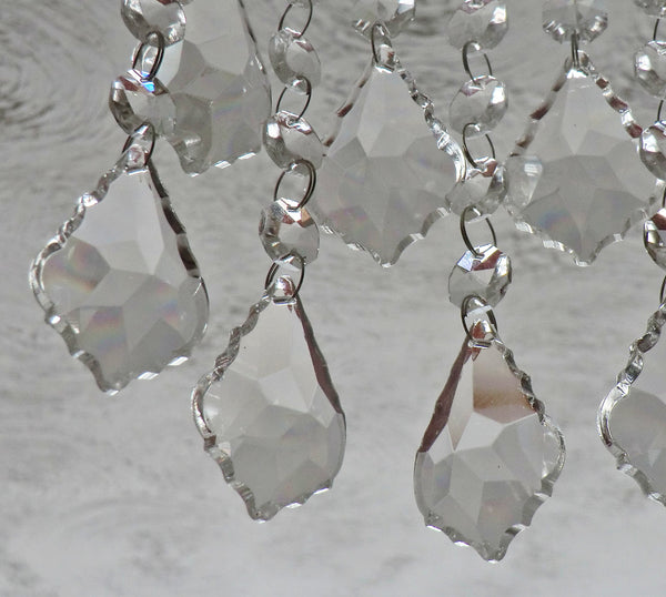 "Clear Cut Glass Leaf 50 mm 2"" Chandelier Crystals Drops Beads Transparent Droplets 3"
