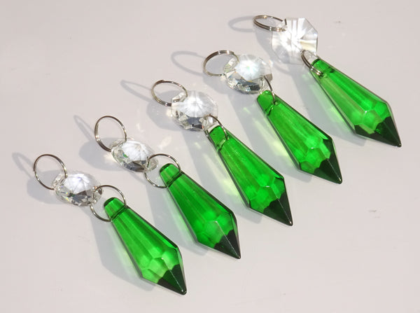 "Emerald Green Cut Glass Torpedo 37 mm 1.5"" Chandelier Crystals Drops Beads Droplets 6"
