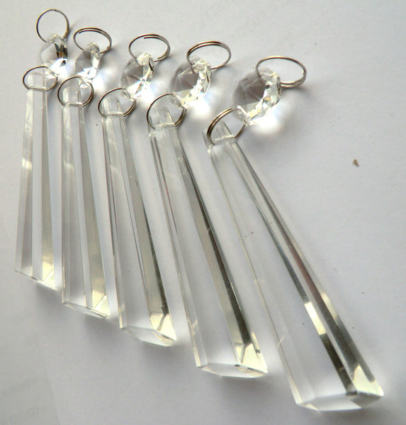"Clear Cut Glass Icicles 72 mm 3"" Chandelier Crystals Drops Beads Droplets Transparent 3"