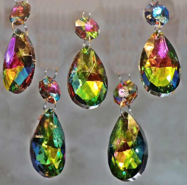 Vitrail AB Iridescent Silver Back Cut Glass Oval 37 mm / 1.5 inch Chandelier Crystals Drops Almond Beads Droplets Prisms 5