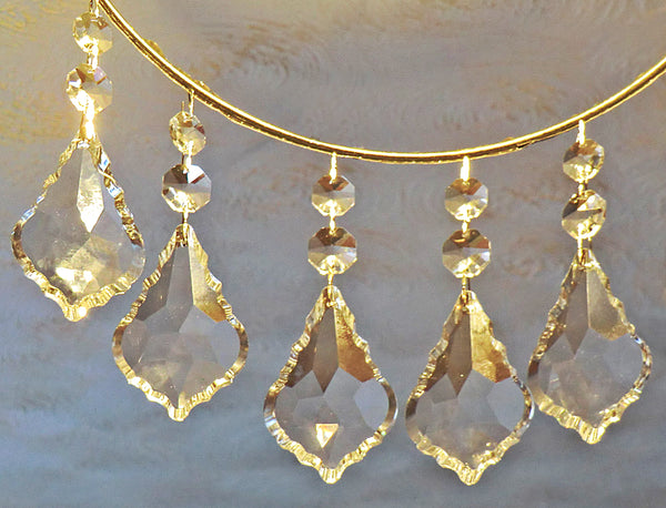 "Clear XL 3"" Leaf Chandelier Crystals Cut Glass Drops Prisms Beads Droplets Pendalogues 5"