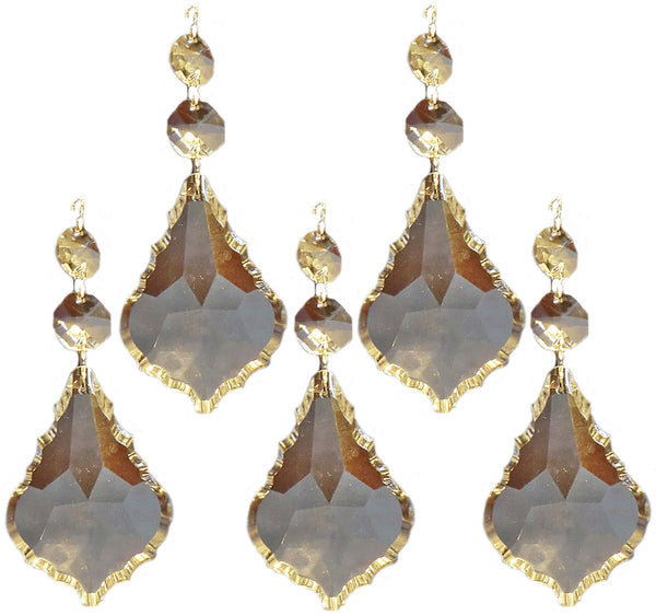 "Clear XL 3"" Leaf Chandelier Crystals Cut Glass Drops Prisms Beads Droplets Pendalogues 6"