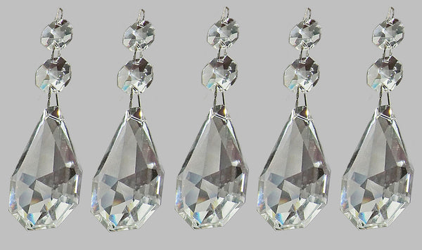 "Clear XL Square Oval 62 mm / 2.5"" Chandelier Crystals Cut Glass Drops Facet Prisms Chain Droplets 2"