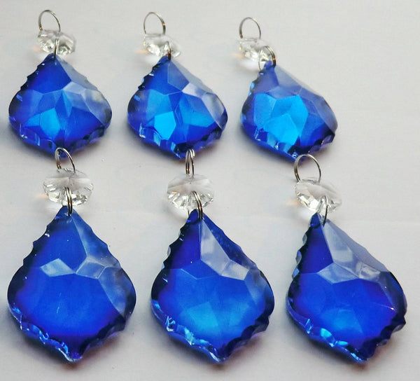"Blue Cut Glass Leaf 50 mm 2"" Chandelier Crystals Drops Beads Droplets Light Lamp Parts 5"