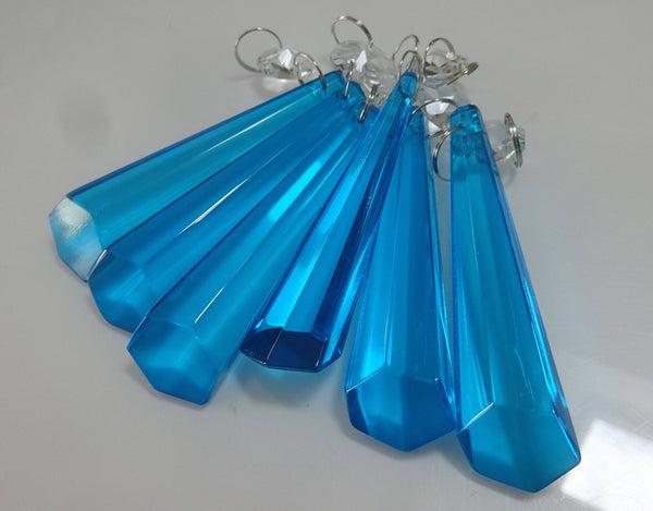 "Teal Blue Cut Glass Icicles 72 mm 3"" Chandelier Crystals Drops Beads Droplets Light Parts 6"
