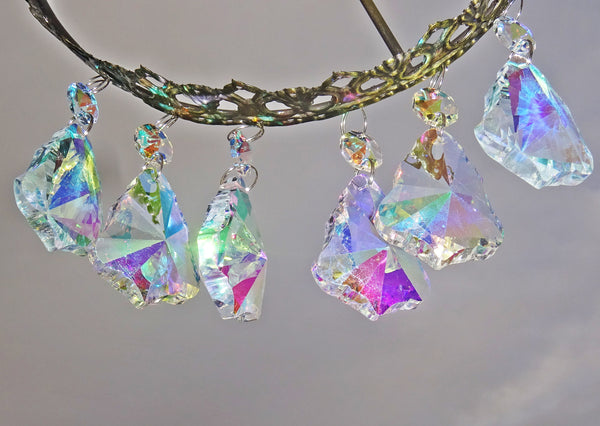 "12 Aurora Borealis 50mm 2"" Bell Chandelier Glass Crystals Beads AB Droplets Christmas Decorations 12"