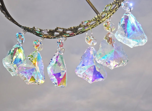 "12 Aurora Borealis 50mm 2"" Bell Chandelier Glass Crystals Beads AB Droplets Christmas Decorations 10"