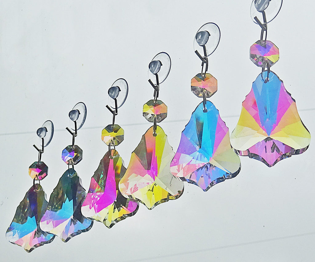 "12 Aurora Borealis 50mm 2"" Bell Chandelier Glass Crystals Beads AB Droplets Christmas Decorations 1"