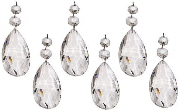 Clear XL 75 mm / 3 Inch Oval Almond Chandelier Crystals Cut Glass Facet Prisms 7