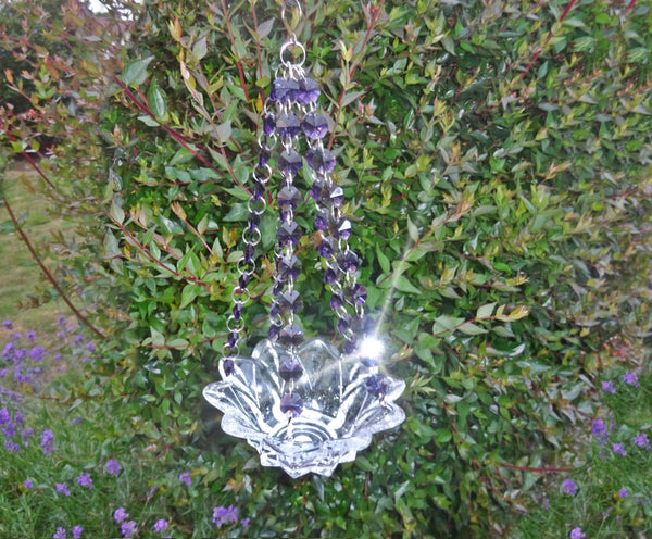 Purple Glass Chandelier Tea Light Candle Holder Wedding Event or Garden Feature 6