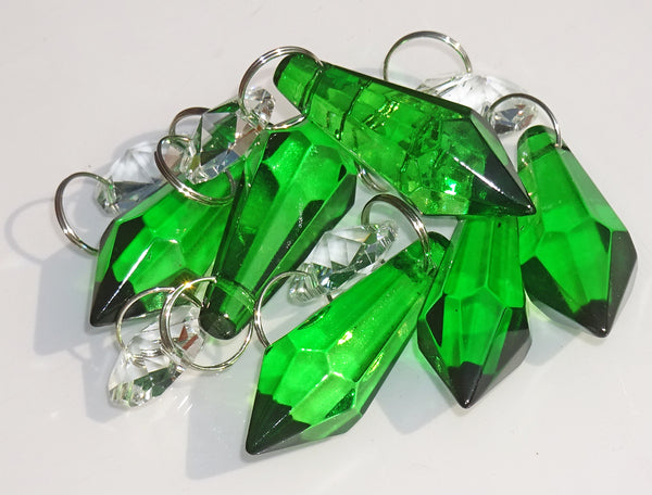 "Emerald Green Cut Glass Torpedo 37 mm 1.5"" Chandelier Crystals Drops Beads Droplets"