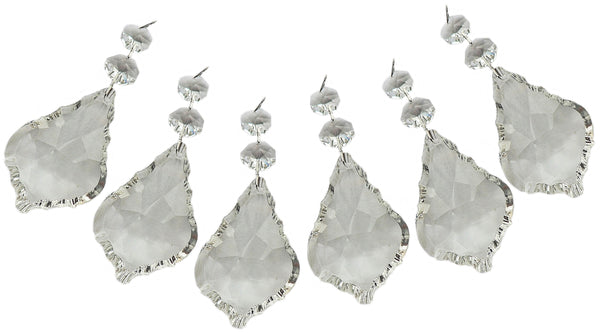 "Clear XL 3"" Leaf Chandelier Crystals Cut Glass Drops Prisms Beads Droplets Pendalogues 7"