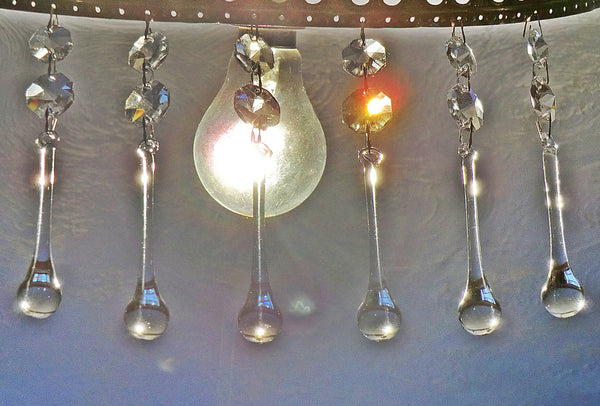 "Clear Glass Orb 76 mm 3"" XL Chandelier Crystals Glass Transparent Droplets Teardrop 9"