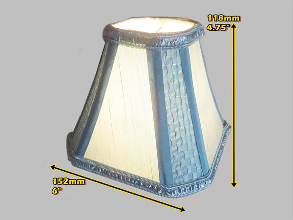 Square Duck Egg Blue Clip On Bulb Candle Lampshade 6' Diameter Chandelier Shade 1