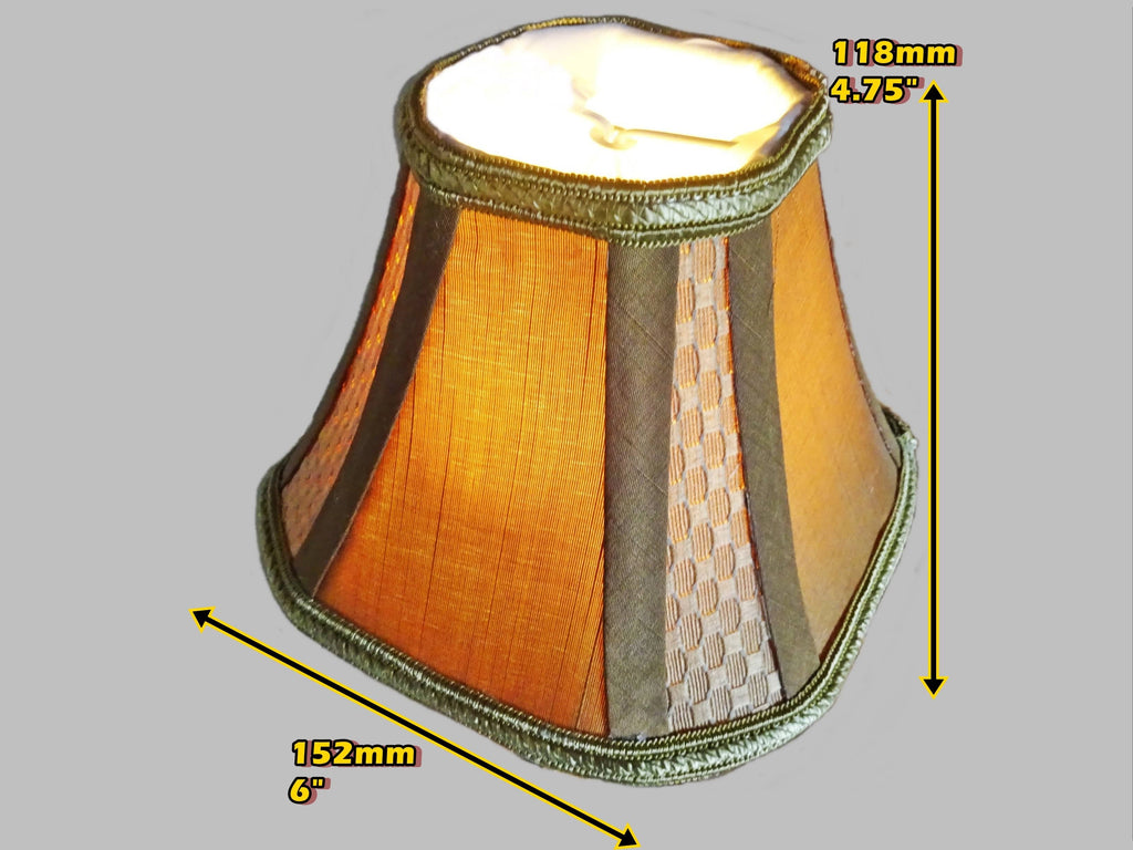 Square Gold Clip On Bulb Candle Lampshade 6' Diameter Chandelier Shade Regal Classic 1