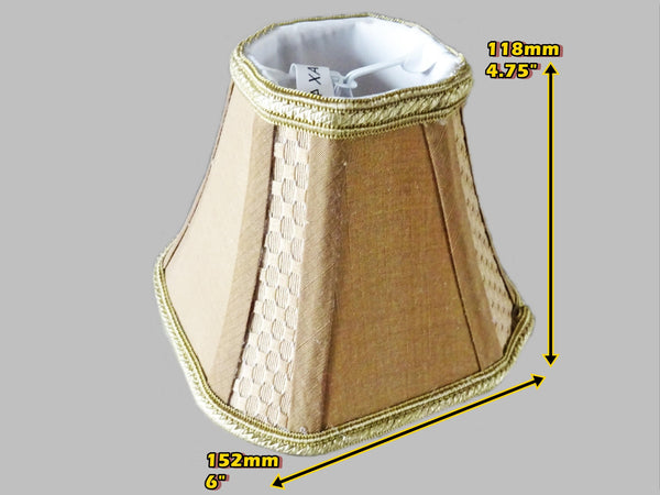 Square Gold Clip On Bulb Candle Lampshade 6' Diameter Chandelier Shade Regal Classic 2