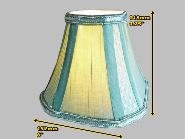 Square Sage Green Clip On Candle Lampshade 6' Diameter Chandelier Shade Regal Classic 1