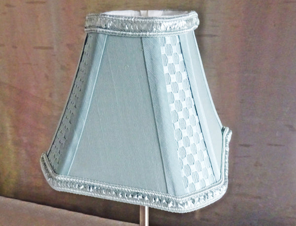 Square Duck Egg Blue Clip On Candle Lampshade 6' Diameter Chandelier Shade 6