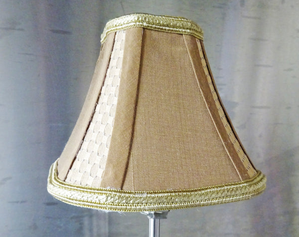 Square Gold Clip On Bulb Candle Lampshade 6' Diameter Chandelier Shade Regal Classic 3