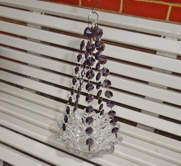 Purple Glass Chandelier Tea Light Candle Holder Wedding Event or Garden Feature 7