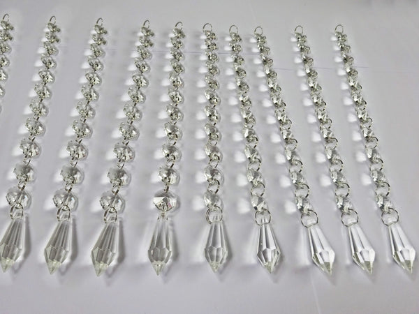 Clear Glass Torpedo 255 mm / 10 inch Chandelier Chain of Drops Crystals Beads Garland Pendant Decoration 9