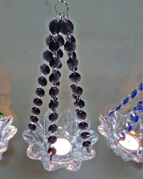 Purple Glass Chandelier Tea Light Candle Holder Wedding Event or Garden Feature 8