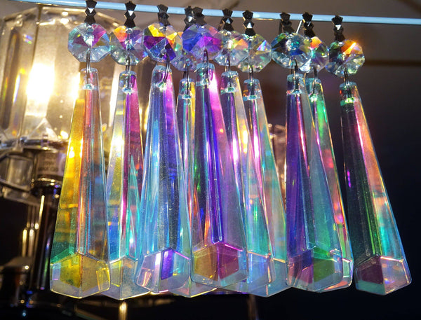 "12 Aurora Borealis Icicles 72mm 3"" Chandelier Crystals Drops Beads Droplets Christmas Decorations 11"