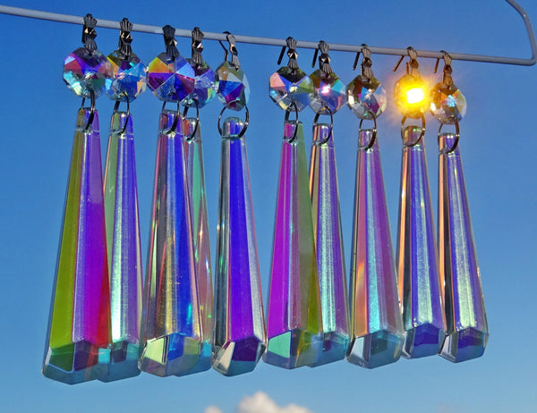 "12 Aurora Borealis Icicles 72mm 3"" Chandelier Crystals Drops Beads Droplets Christmas Decorations 1"
