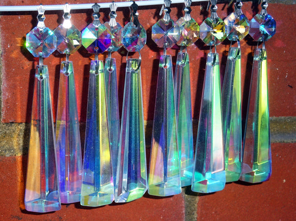 "12 Aurora Borealis Icicles 72mm 3"" Chandelier Crystals Drops Beads Droplets Christmas Decorations 12"