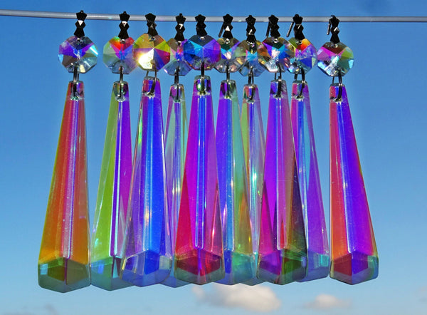 "12 Aurora Borealis Icicles 72mm 3"" Chandelier Crystals Drops Beads Droplets Christmas Decorations 2"