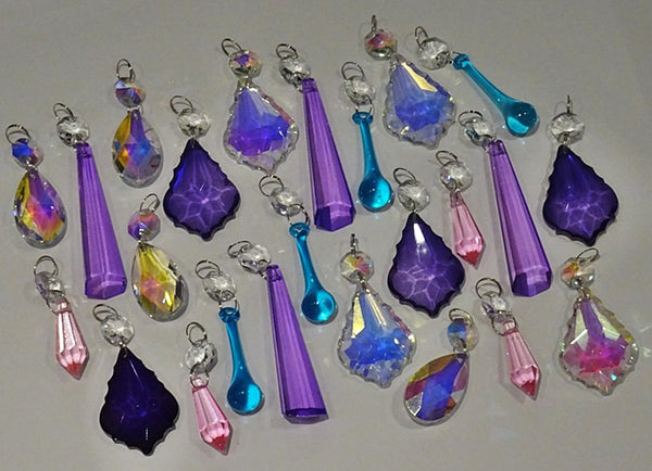 24 Aurora Borealis Deep Pastel AB Chandelier Drops Parts Crystals Beads Mix Bundle 7