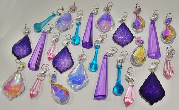 24 Aurora Borealis Deep Pastel AB Chandelier Drops Parts Crystals Beads Mix Bundle 8