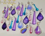 24 Aurora Borealis Deep Pastel AB Chandelier Drops Parts Cut Glass Crystals Beads Mixed Bundle Droplets 1