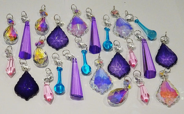 24 Aurora Borealis Deep Pastel AB Chandelier Drops Parts Crystals Beads Mix Bundle 4