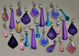24 Aurora Borealis Deep Pastel AB Chandelier Drops Parts Crystals Beads Mix Bundle 5